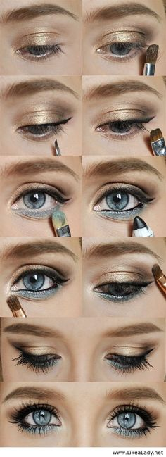 Eye makeup to bring out the color in your blue eyes. Choose your look: every day, shimmering gold glam, gold cat's eye, an evening look, the list goes on and on.