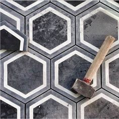 Black Conrete Hexagonal Tiles