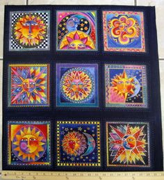 "CELESTIAL DREAMS PANEL SUNS AND MOONS 22""X23-1/2"" COTTON LAUREL BURCH FABRIC 