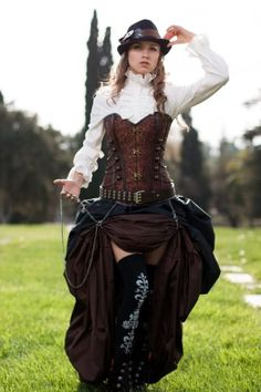 Buy Now 3 pc. Steampunk Victorian Corset & Double Bustle Skirt, brown black brown costume, cosplay goth clothes clothing by MajesticVelvets Style Steampunk, Steampunk Dress, Steampunk Cosplay, Steampunk Wedding, Gothic Steampunk, Steampunk Clothing, Steampunk Fashion, Steampunk Couture, Steampunk Outfits