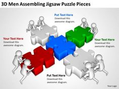D Men Working Collectively To Arrange Jigsaw Puzzles Ppt Graphics