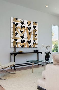 Love & Black Hearts White Wood Wall Art
