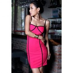 @everbuying  $13.99 Sexy Style Off The Shoulder Low-Cut Splicing Design Cotton Women's Slip Dress #gifts