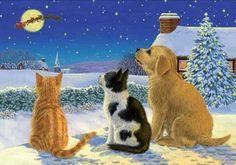 Caroline's Treasures Golden Retriever and Kittens Watching Santa Glass Cutting Board Charity Christmas Cards, Christmas Sale, Santa Christmas, Glass Cutting Board, Cutting Boards, Print Artist, Doge, Kittens, Pets