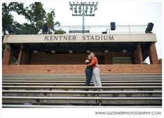 Katie+Jake's beautiful fall engagement session at Kentner Stadium at their alma mater, Wake Forest University, in Winston-Salem, NC | ©2013 Glessner Photography | Hair and Makeup by UPDO's Studio in Kernersville, NC