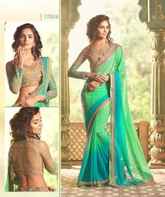 buy saree online Sea Green Colour Georgette Party Wear Saree And Heavy Blouse Work Buy Saree online - Buy Sarees online