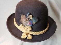 4fa02506c71253 Vintage Brown Knox Alpine Style Tyrolean Rope Hatband Felt Trilby Homburg  Fedora Sz 7 3/8 59 cm Men's Dress Formal Wear