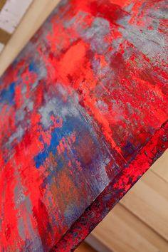 Fluorescent Abstract Acrylic Painting Modern Art Multicoloured