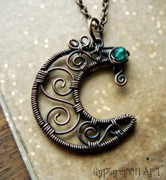 Moon Necklace.  Petite Copper Wire Wrapped Crescent Spiral Moon Necklace.