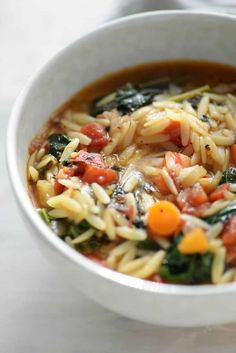 Looking for a healthy vegan soup? Try this Tuscan Kale Soup made with roasted tomatoes, orzo, kale in a spicy broth. A must make, less than 250 calories a serving.