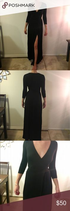 Black Maxi Dress Long 3/4 sleeve black maxi dress. Perfect for a night wedding or special occasion! Lulu's Dresses Maxi