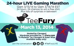 Big news! Beginning at Midnight EST on Thursday, March 13th, our very own ClevaGurl will be live streaming on Twitch TV from TeeFury HQ for 24 hours! Contests, giveaways and prizes galore will be going on throughout the day! Be sure to check it out! www.twitch.tv/... #TeeFuryLIVE