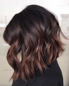 Cherry Chocolate Brunette Balayage Hair Color Ideas for Black Praise Hairstyles . - Cherry Chocolate Brunette Balayage Hair Color Ideas for Black Praise Hairstyles – - Balayage Lob, Brunette Balayage Hair Short, Black Balayage, Short Balayage, Hair Color Brunette, Brunette Ombre, Balyage For Dark Hair, Rose Gold Balayage Brunettes, Brown Balayage Bob
