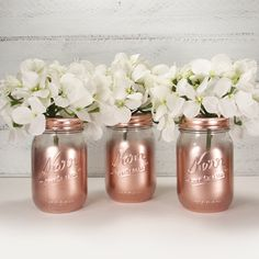 3 Clear Partial Metallic Painted Pint Mason Jar Flower Vases-Country Decor-Cottage Chic-Shabby Chic-French Chic by VintageBloomsJarCo on Etsy Gold Mason Jars, Pint Mason Jars, Mason Jar Flowers, Flower Vases, Shower Party, Baby Shower, Bridal Shower, Wedding Beauty, Bridal Beauty