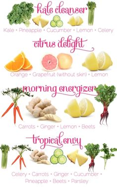 raw juice recipe infographic - kale cleanser, citrus delight, morning energizer, tropical envy