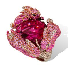 'Hop into Spring with Lydia Courteille's 'Lapin Rose' or 'Pink Rabbit' Collection' - Ring with pink tourmalines and sapphires | Jewels du Jour