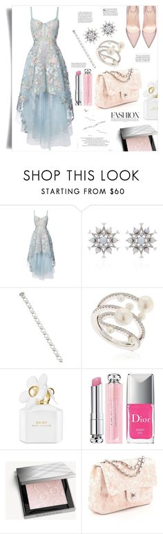 """Florals, stars and pearls..."" by ildiko-olsa ❤ liked on Polyvore featuring Notte by Marchesa, Nikos Koulis, Elizabeth Kennedy, APM Monaco, Marc Jacobs, Christian Dior, Burberry and Chanel"