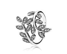 Leaves silver ring with cubic zirconia