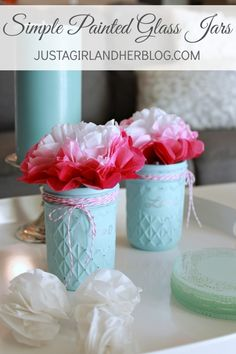 These glass jars are SO beautiful and really easy to make! | Just a Girl and Her Blog