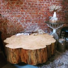 Boomstam salontafel abies hout