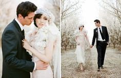 Ok how gorgeous is this? This is why I am insisting on an apple orchard wedding. Oh and I love the Claire Pettibone dress and bolero in this shoot. Drool.  Almond Orchard Wedding Inspiration