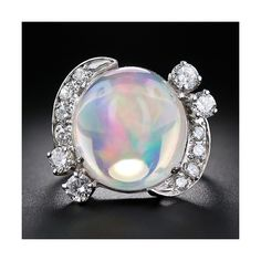 Mexican Jelly Opal and Diamond Ring ($5,850) ❤ liked on Polyvore
