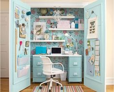 I want to do this for my home workspace!  Such a cute way to turn a closet into a desk with plenty of ways to stay organized and save room! With all this storage, it would be the perfect, hide-able office for work and school!