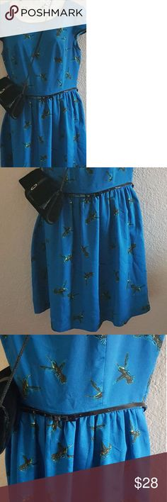 """Kensie ~ dress ~ Hummingbird Prints! Beautiful blue color! With Hummingbird print throughout. Slightly worn.  35"""" long 32"""" Waist Zipper on the back Lined 100 % Polyester Kensie Dresses Midi"""