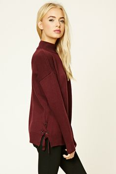 Lace-Up Mock Neck Sweater - Jumpers + Cardigans - 2000238259 - Forever 21 EU English