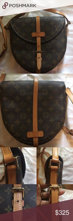Authentic Louis Vuitton Chantilly GM Good used condition! Straps has patina. Has a crack in leather strap where the closure latch  is (refer to pic) but it's still latches with no problem. I did make an additional hole in strap for Crossbody length (Refer to pic). Inside pocket does have peeling and sticky. I never used it. Still has a lot of life in this cute LV Crossbody. I DO NOT TRADE!!!! Louis Vuitton Bags Crossbody Bags
