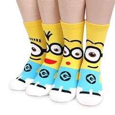 Minions Licensed Crew Socks Pack of 4pairs LG Intype