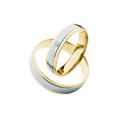 SAVICKI - Obrączki ślubne: Obrączki z dwukolorowego złota (605/ZB/4,5/L/W/1x0,02) - Biżuteria od 1976 r. Silver Rings, Wedding Rings, Engagement Rings, Bracelets, Jewelry, Enagement Rings, Jewlery, Jewerly, Schmuck