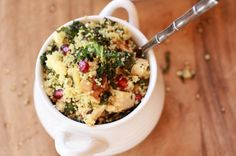 Crispy Kale Salad with Couscous, Grilled Chicken, and Pomegranates
