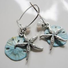 Silver Starfish Earrings Blue Sand Dollar from Redpeonycreations