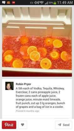 Hunch Punch in a cooler I don't drink but the pool crew would LOVE this.
