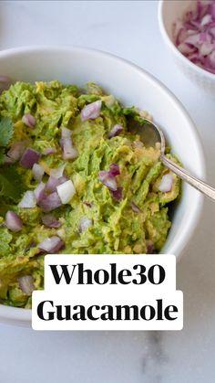 Raw Vegan Recipes, Vegan Snacks, Mexican Food Recipes, Healthy Snacks, Vegetarian Recipes, Healthy Recipes, Whole30 Recipes, Healthy Nutrition, Chipotle Guacamole Recipe