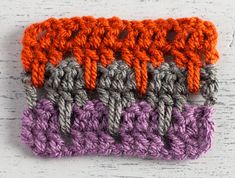 Larksfoot Stitch Crochet Swatch in Three Colors