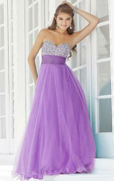 Tulle A-line Strapless Sweetheart Long Lace up Prom Dress