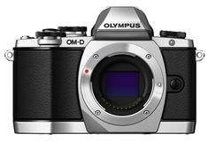 Olympus OM-D E-M10 Mirrorless Digital Camera (Silver)- Body only. 16 MP Four Thirds CMOS sensor with 3-axis sensor shift image stabilization. Up to 8 FPS continuous shooting. ISO 200-25600. 1080/30 fps HD video (H.264/Motion JPEG). Tiltable 3 inch touchscreen LCD with 1,037,000 dots. Electronic viewfinder with 100% coverage and 1,044,000 dots. Raw and Raw + JPEG shooting. Built-in flash compatible with Olympus Wireless RC Flash system. Built-in Wi-Fi. SD/SDHC/SDXC card slot.