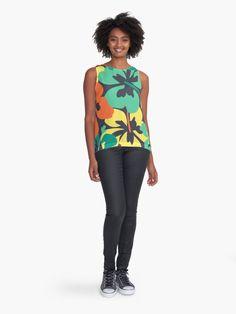"""Flower Print, Flower Pattern"" Sleeveless Top by MsD7 | Redbubble Crew Neck Sweatshirt, T Shirt, Cotton Tote Bags, Flower Prints, Flower Patterns, Chiffon Tops, Mini Skirts, Women's Fashion, Tank Tops"