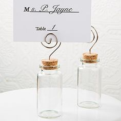 This simple and clever idea as a place card holder will charm your guests when you fill the jar with exotic spices or home made treats!
