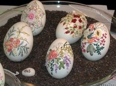 Really? Embroidered eggs! Artists use a Dremel drill for the holes and dip the eggs in liquid sodium silicate, which hardens them significantly.