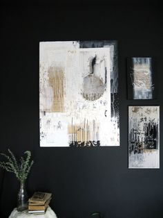 abstract painting black and white acrylic on canvas by ancagray