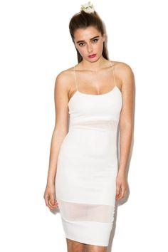 Brenner Spaghetti Strap Mesh Insert Dress In White