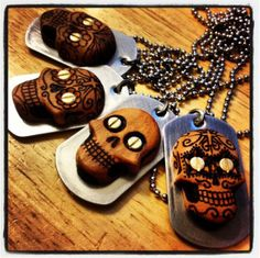Hand carved and wood burned skull pendants. #skull #skulls #sugarskull #jewelry #dogtag #necklace #pendant #beaulieudesigns