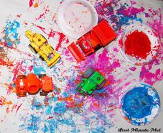 Painting with Bob the Builder.. or any cars you have. Jayden will love this!