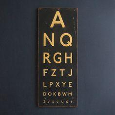 Hand Painted Vintage Finish Eye Test Chart on Etsy, £85.00