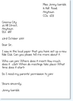Activity C Informal Letters These Are Letters To Friends And