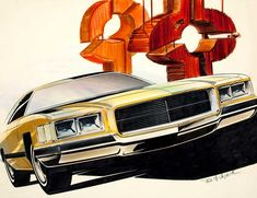 The yellow rendering was done for the 1975 Chevy Impala.