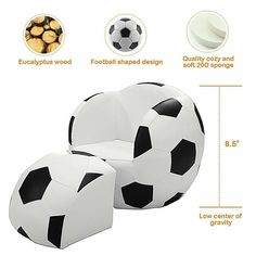 Kids Sofa Armrest Chair Football Shape Toddler Couch With Ottoman Christmas Gift Kids Armchair, Kids Sofa, Kids Soccer, Soccer Ball, Shapes For Toddlers, Chair And Ottoman Set, Couch Ottoman, Pvc Fabric, Design Living Room